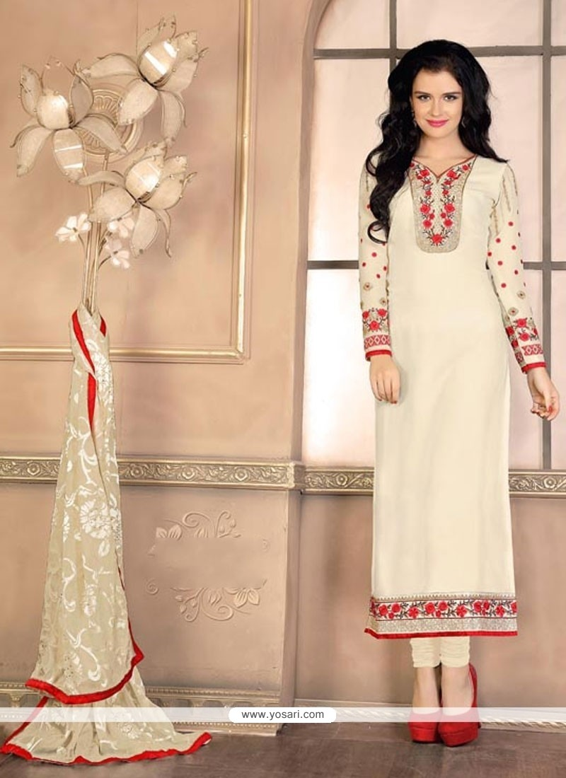 Sophisticated Off White Designer Straight Salwar Suit