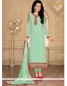 Amusing Georgette Sea Green Designer Straight Salwar Suit
