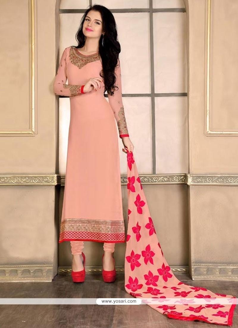 Charismatic Peach Designer Straight Salwar Kameez