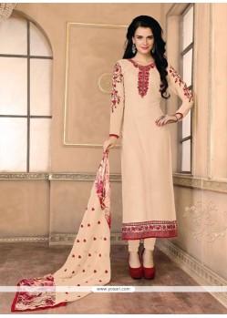 Ideal Georgette Lace Work Designer Straight Salwar Kameez
