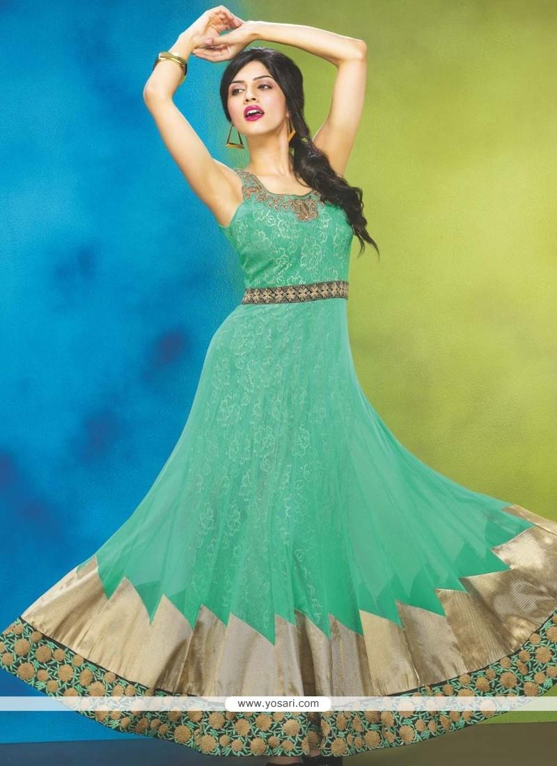 Turquoise Net Designer Anarkali Suit