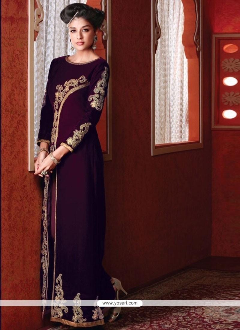 Modernistic Zari Work Velvet Designer Suit