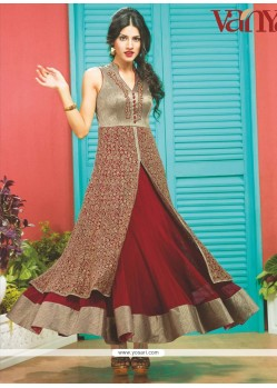 Astonishing Maroon Embroidery Designer Suit