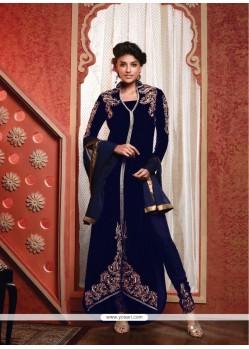 Competent Blue Resham Work Designer Suit