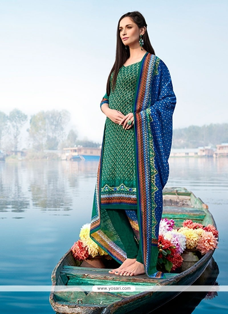Phenomenal Print Work Multi Colour Pashmina Churidar Designer Suit