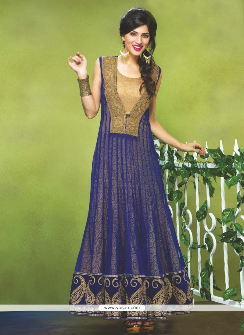 Angelic Blue Net Anarkali Suit