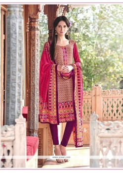 Astonishing Pashmina Print Work Churidar Designer Suit