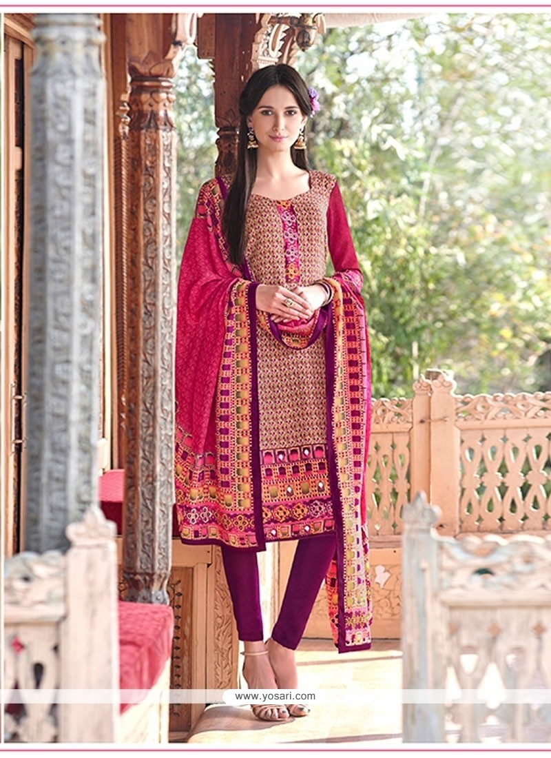 Astonishing Pashmina Print Work Churidar Designer Suit