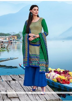 Spectacular Pashmina Multi Colour Print Work Churidar Designer Suit