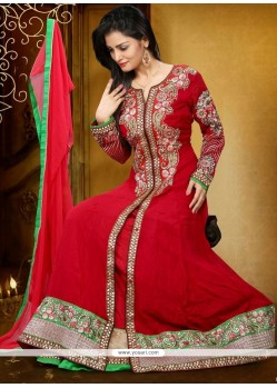 Modest Georgette Red Anarkali Salwar Kameez