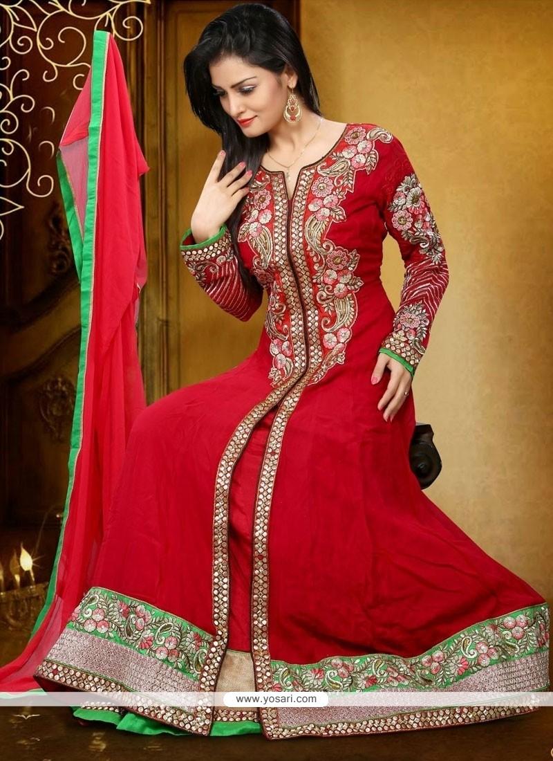 Modest Georgette Red Anarkali Salwar Kameez