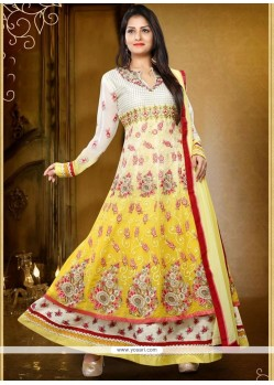 Mesmerizing Cream And Yellow Anarkali Salwar Kameez