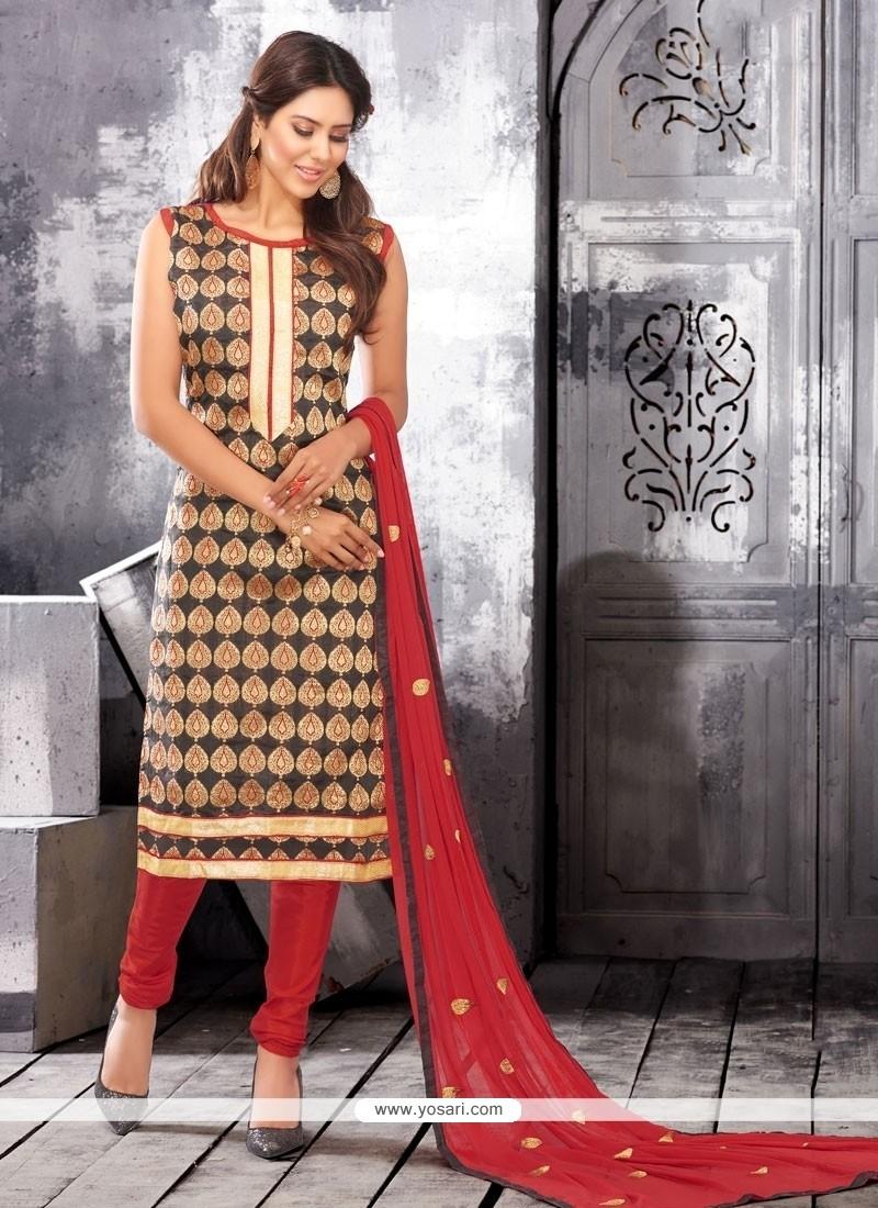 Vivid Chanderi Cotton Black Lace Work Churidar Designer Suit