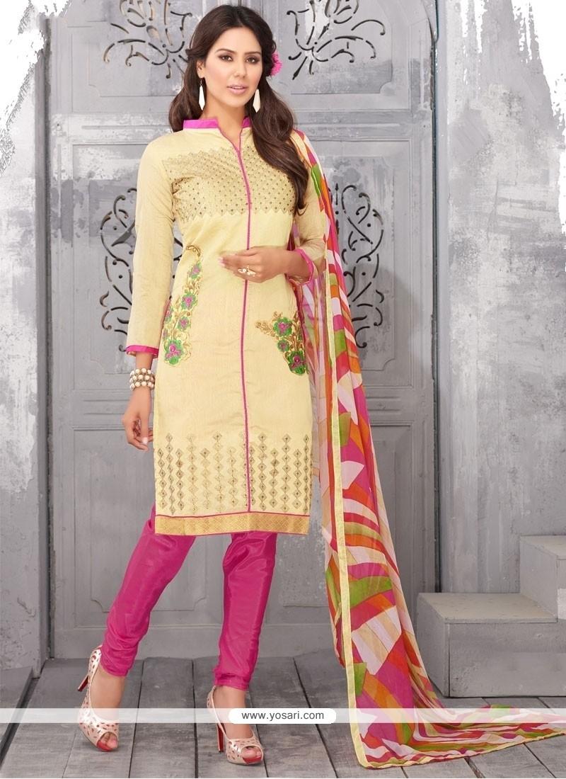 Jazzy Cream Lace Work Churidar Designer Suit