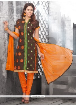 Ruritanian Brown Embroidered Work Chanderi Cotton Churidar Designer Suit