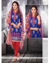 Fine Chanderi Cotton Blue Churidar Designer Suit