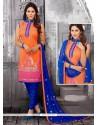 Especial Embroidered Work Orange Churidar Designer Suit