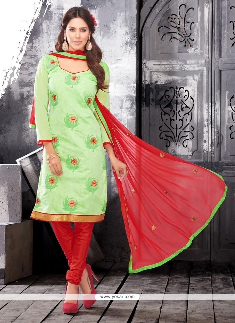 Adorable Embroidered Work Green Chanderi Cotton Churidar Designer Suit
