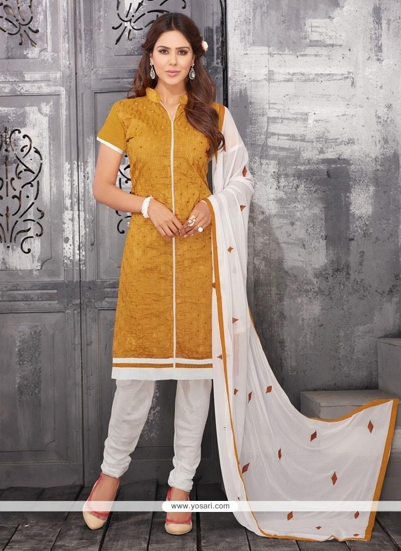 Artistic Chanderi Cotton Churidar Designer Suit