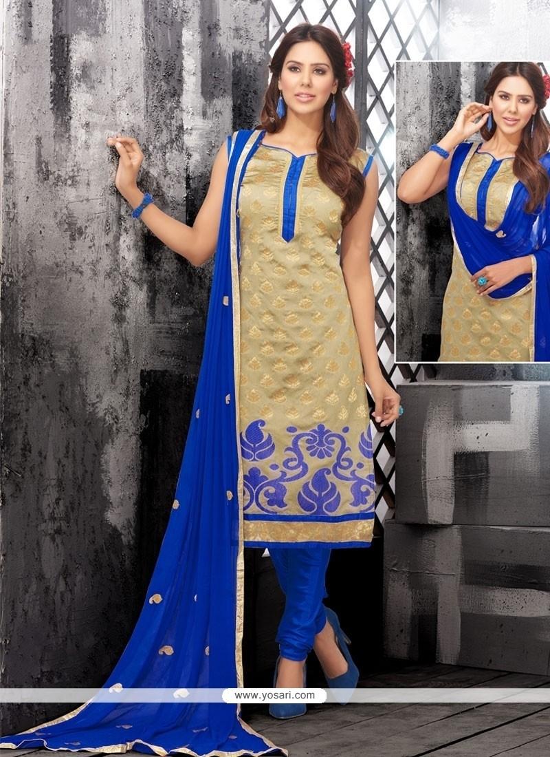 Modernistic Chanderi Cotton Churidar Designer Suit