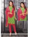 Sumptuous Lace Work Green Chanderi Cotton Churidar Designer Suit