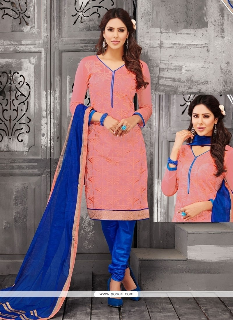 Modest Peach Lace Work Churidar Designer Suit