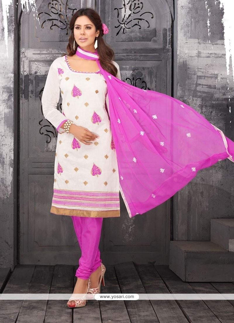 Outstanding Lace Work Chanderi Cotton Churidar Designer Suit