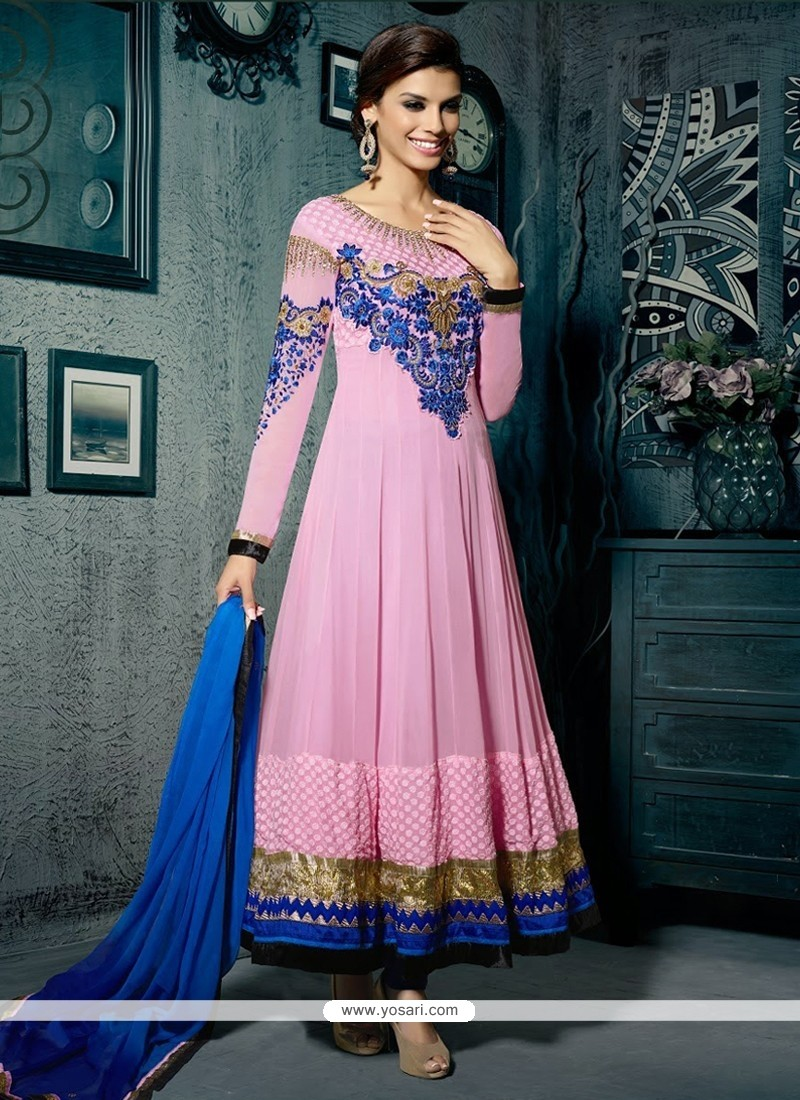 Deserving Pink Resham Anarkali Salwar Suit