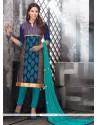 Capricious Chanderi Cotton Blue Churidar Designer Suit