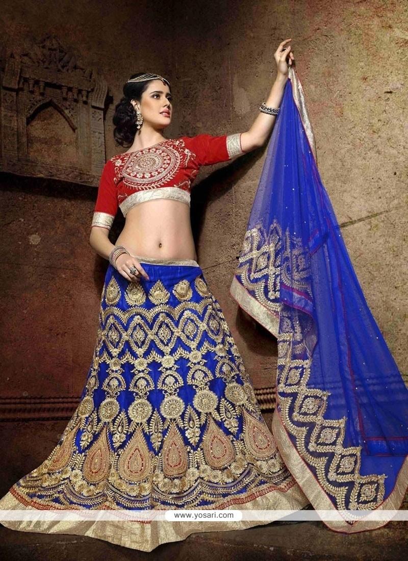 Fashionable Net Embroidered Work A Line Lehenga Choli