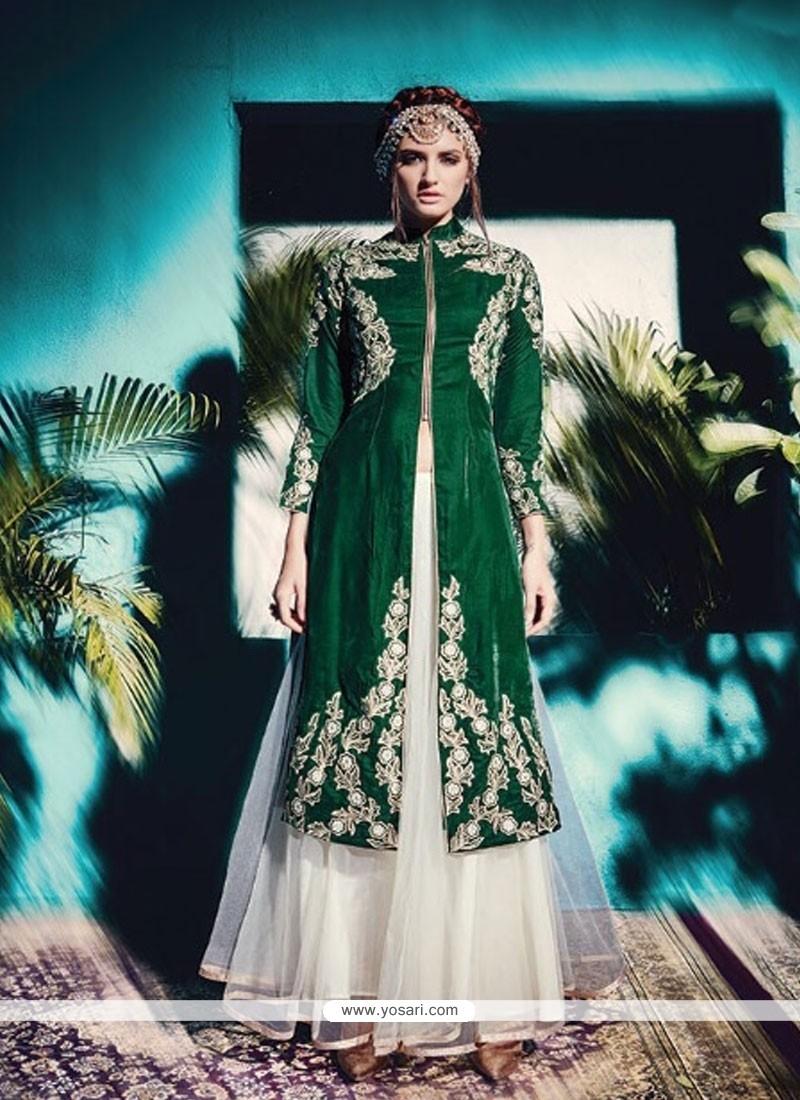 Appealing Green Velvet A Line Lehenga Choli