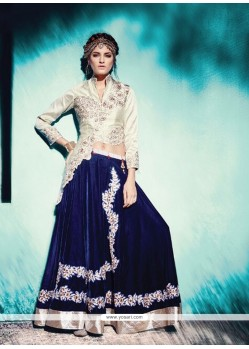 Vivacious Blue Resham Work A Line Lehenga Choli
