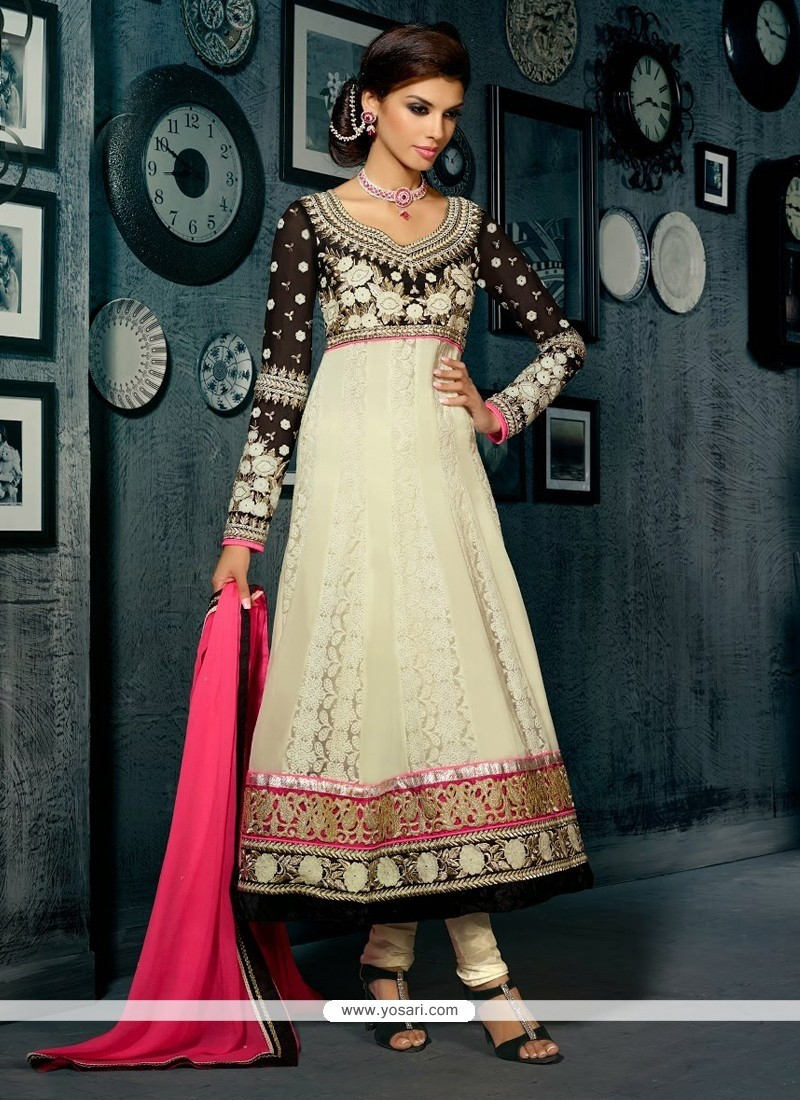 Off White And Black Georgette Salwar Suit