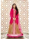 Flattering Zari Work Hot Pink A Line Lehenga Choli