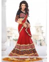 Classy Red Embroidered Work Georgette A Line Lehenga Choli