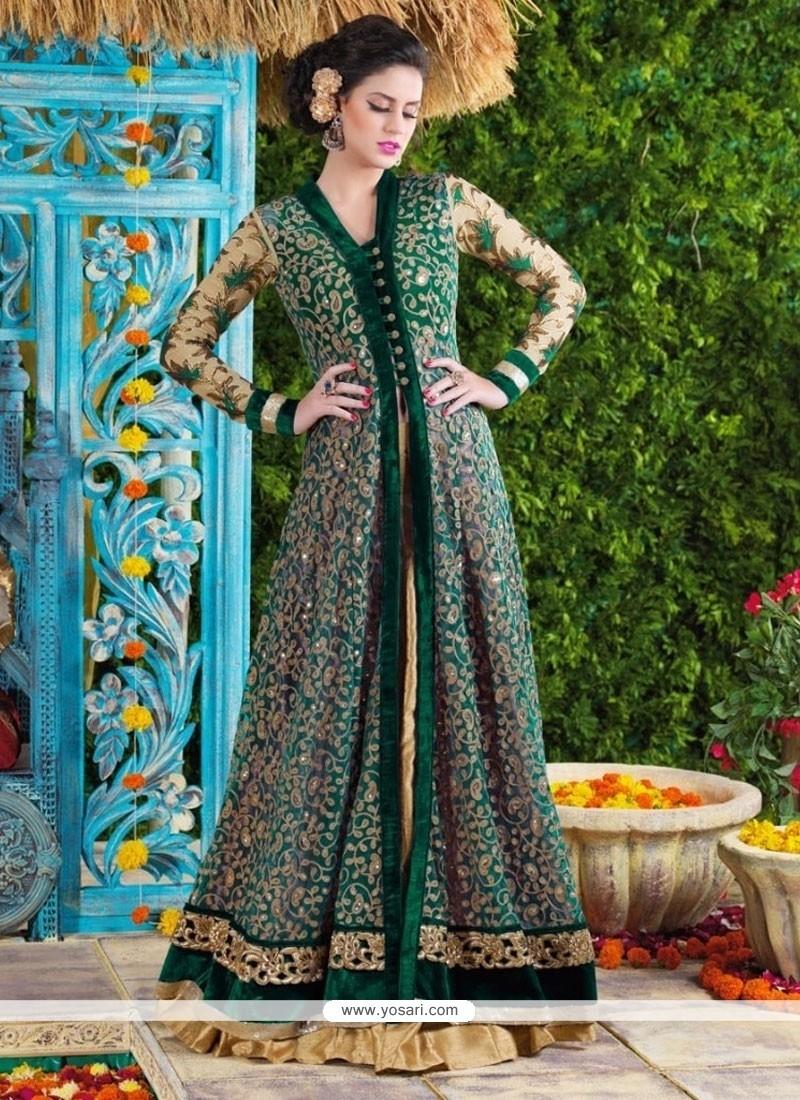 Sparkling Net Patch Border Work Designer Suit