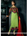 Decent Green Resham Work Churidar Suit