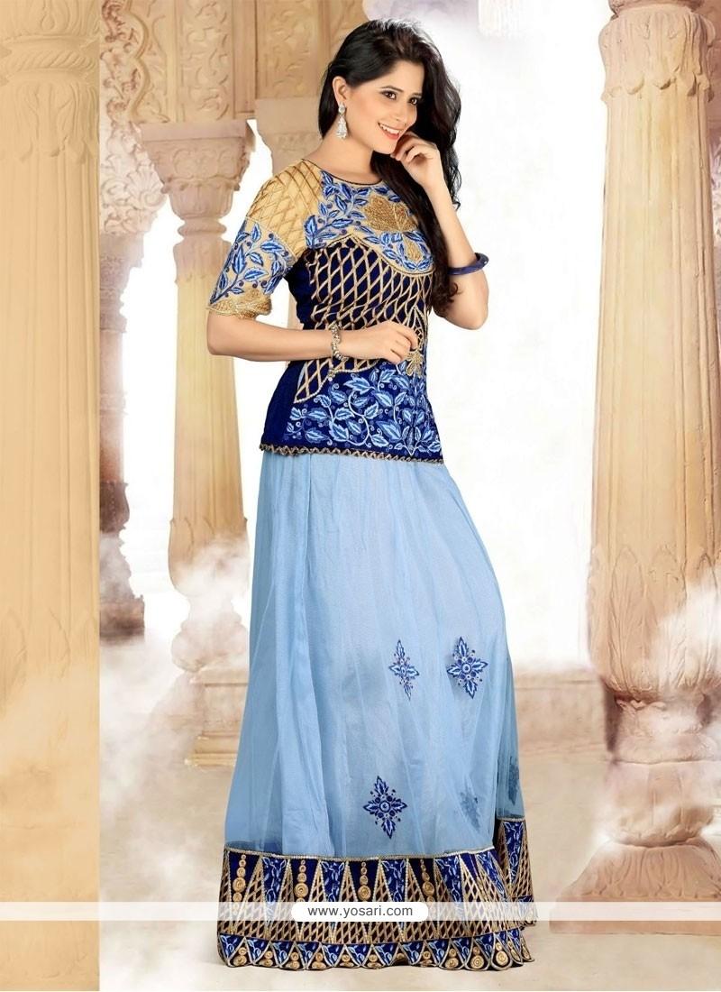 Chic Blue Resham Work A Line Lehenga Choli
