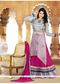 Royal Grey Resham Work Georgette A Line Lehenga Choli