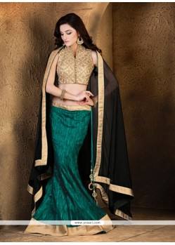 Monumental Green Embroidered Work A Line Lehenga Choli