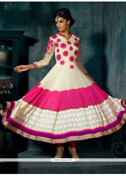 Off White And Pink Georgette Anarkali Suit