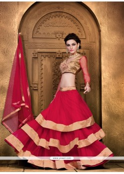 Pleasance Red Lace Work Net A Line Lehenga Choli