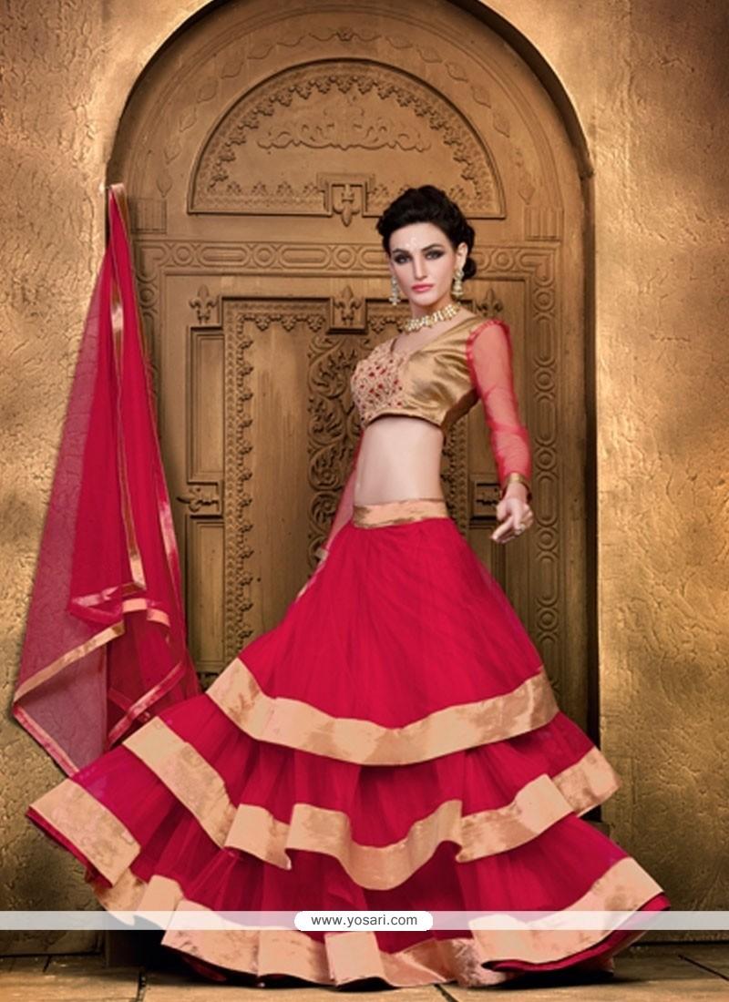 Pleasance Red Lace Work Net A Line Lehenga Choli