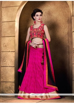 Vehemently Raw Silk Hot Pink Lace Work A Line Lehenga Choli