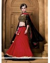 Versatile Embroidered Work Red A Line Lehenga Choli