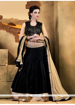 Exotic Raw Silk Black A Line Lehenga Choli