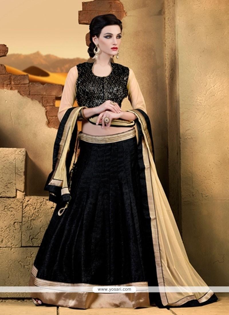 Exotic Raw Silk Black A Line Lehenga Choli