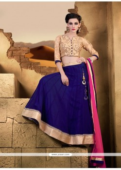 Surpassing Net Blue Lace Work A Line Lehenga Choli