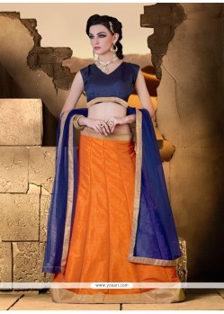 Astounding Raw Silk Orange A Line Lehenga Choli
