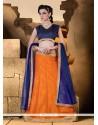 Astounding Raw Silk Orange A Line Lehenga Choli
